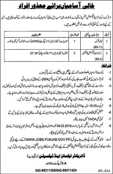Excise and Taxation Office Lahore Jobs