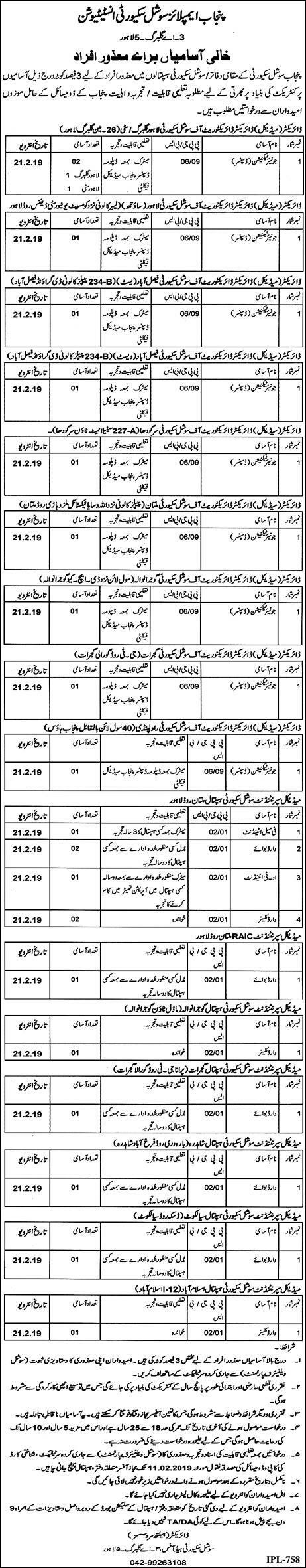 Punjab Employees Social Security Institution Jobs