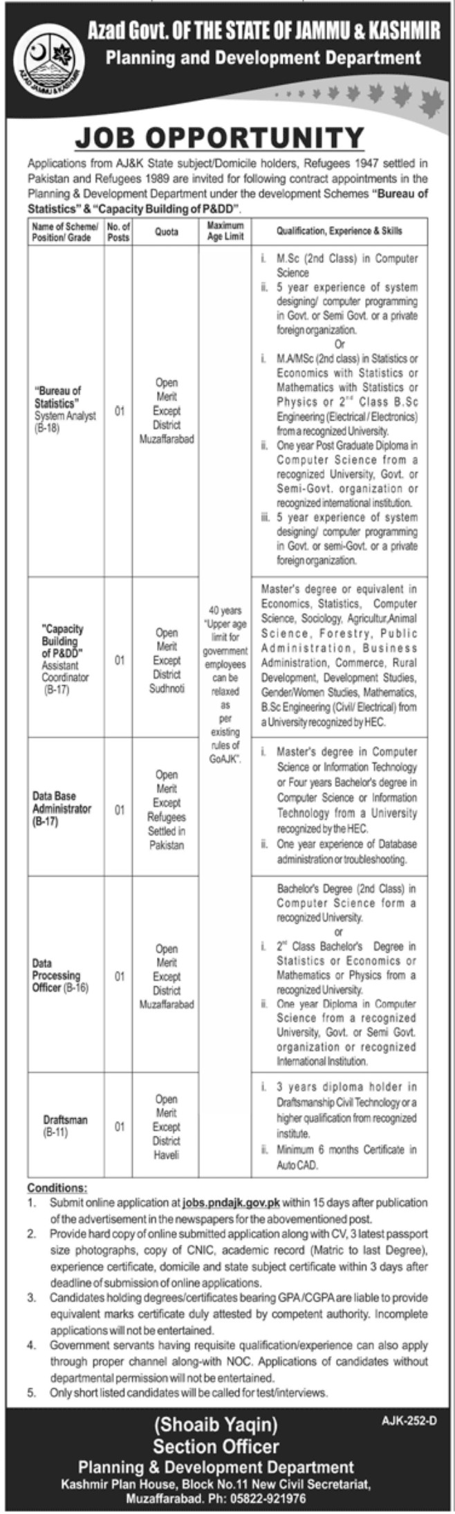 Azad Govt of the State of Jammu & Kashmir (Planning and Development Department) Jobs