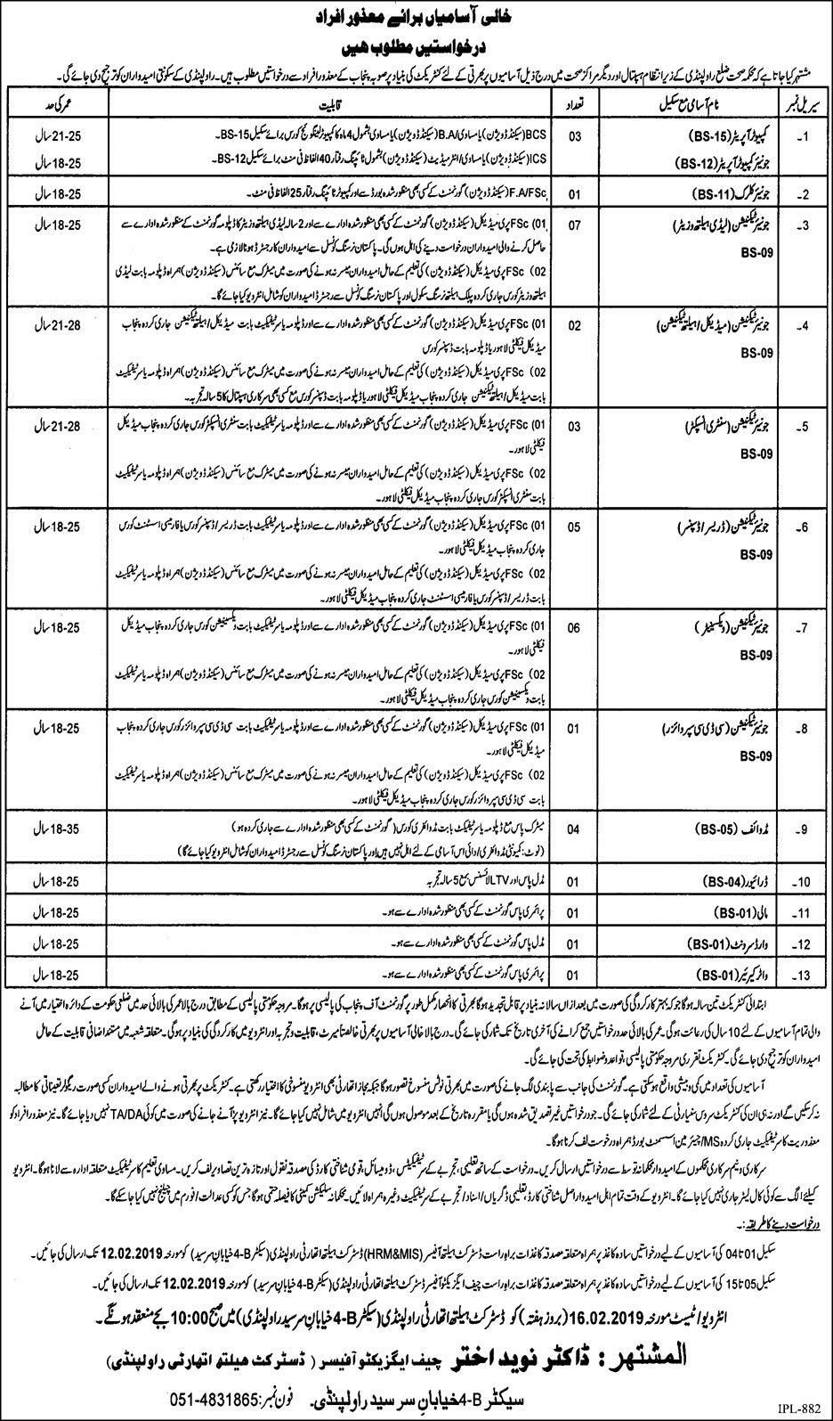 District Health Authority Rawalpindi Jobs