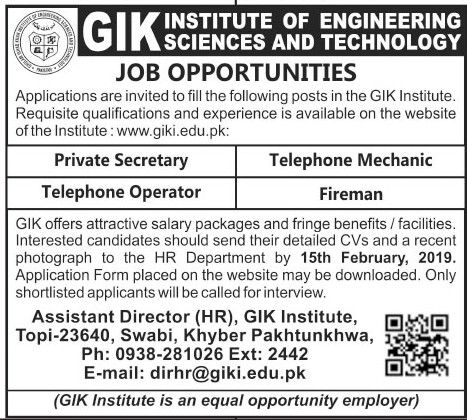 GIK Institute of Engineering Sciences and Technology Jobs