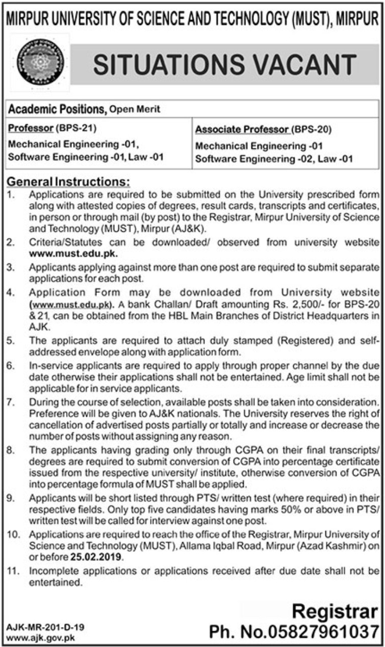 Mirpur University of Science and Technology (MUST) Jobs