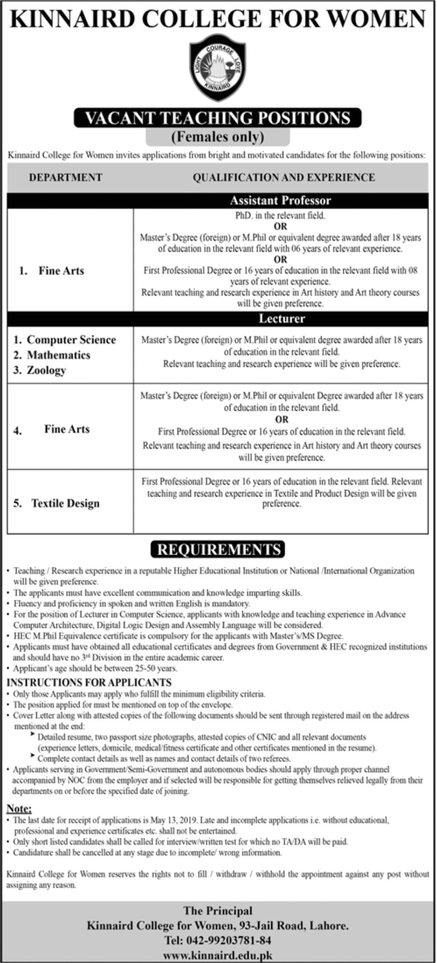 Assistant Professor Jobs in Kinnaird College for Women