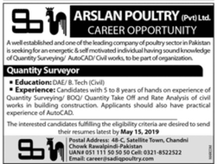 Arslan Poultry Private Limited Jobs