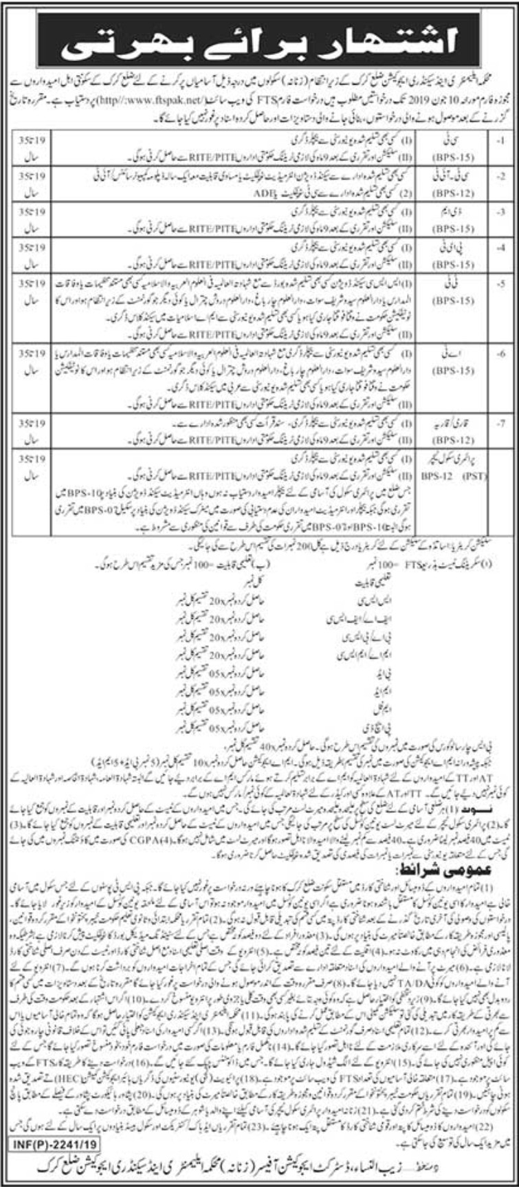 Elementary and Secondary Education Department KaraK Jobs