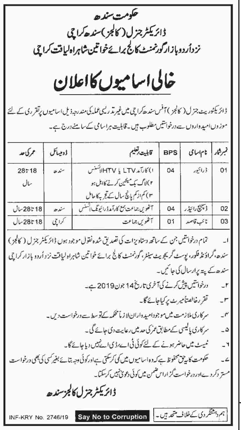 Government of Sindh - Government Colleges for Women Jobs