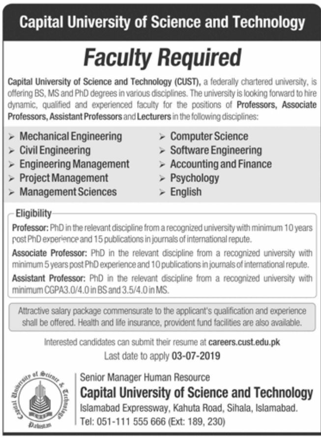 Capital University of Science and Technology Jobs