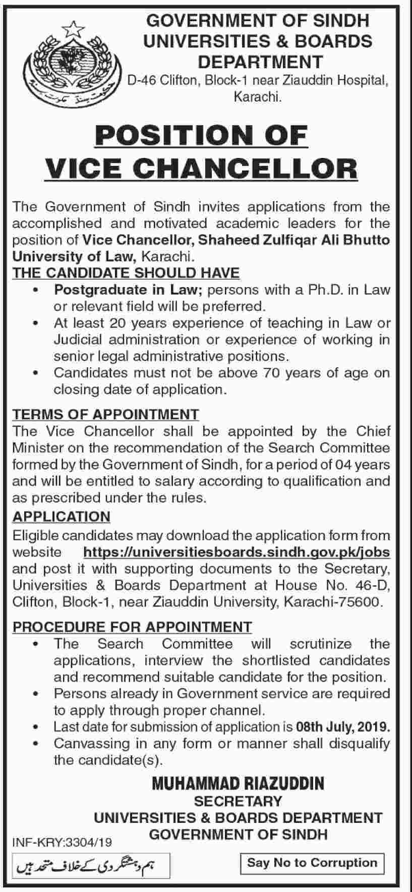 Government of Sindh Universities & Boards Department Jobs