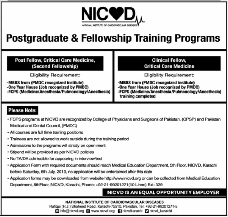 NICVD National Institute of Cardiovascular Dieases Jobs