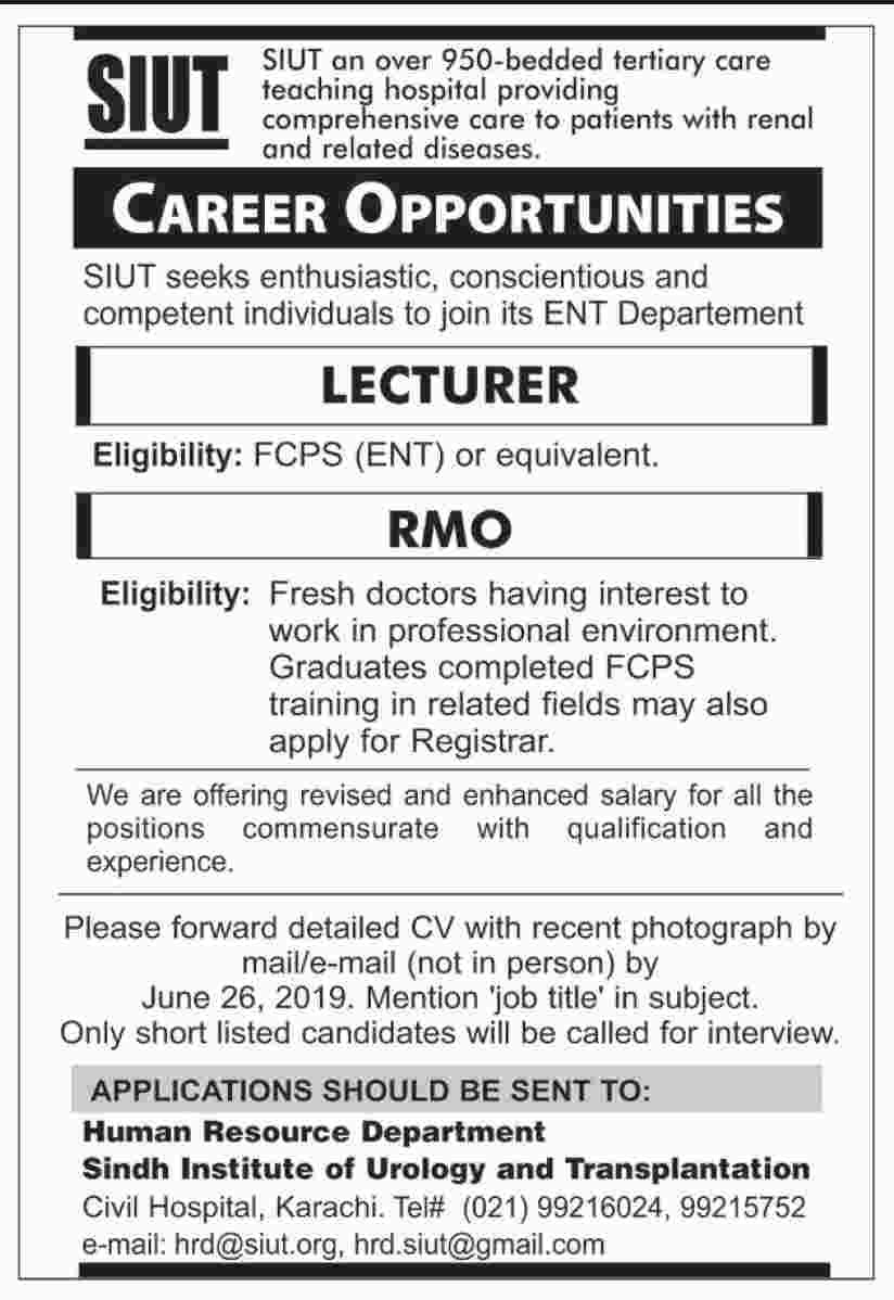 Sindh Institute of Urology and Transplantation Jobs