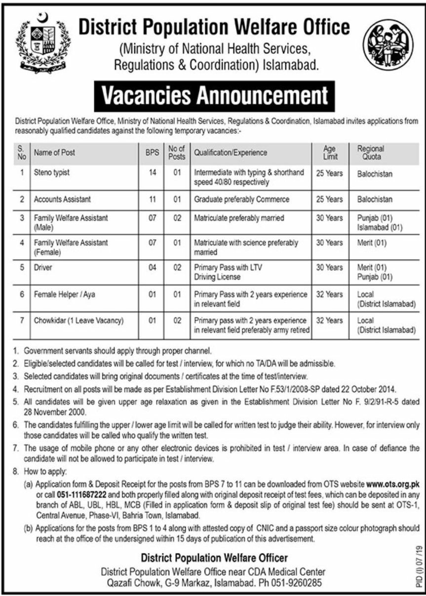District Population Welfare Office Jobs - vulearning jobs